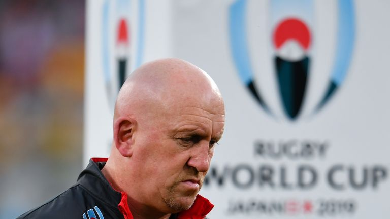 CHOFU, JAPAN - SEPTEMBER 29: Wales defence coach Shaun Edwards during the pre match warm up before the Rugby World Cup 2019 Group D game between Australia and Wales at Tokyo Stadium on September 29, 2019 in Chofu, Tokyo, Japan. (Photo by Ashley Western/MB Media/Getty Images)