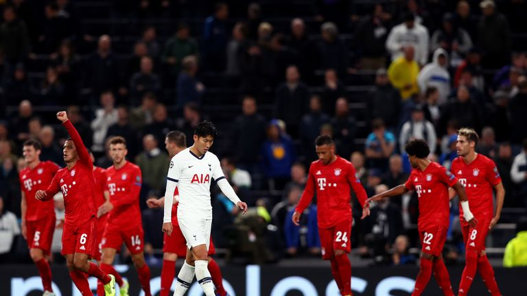 Son Heung-min looks dejected after Bayern Munich score their sixth