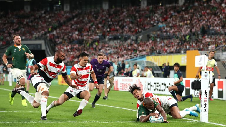 Makazole Mapimpi scored two of South Africa's three tries against Japan