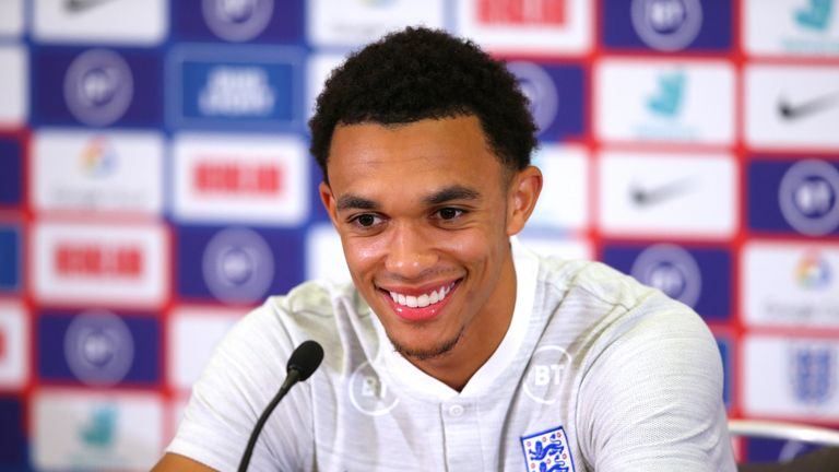 Trent Alexander-Arnold of England faces the media during a press conference at St Georges Park on October 08, 2019 in Burton-upon-Trent, England.