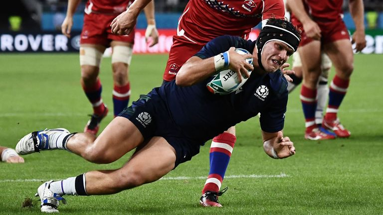 Hooker George Turner scored on his Rugby World Cup debut in the second half