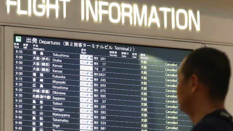 1,600 flights have been cancelled so far due to Typhoon Hagibis