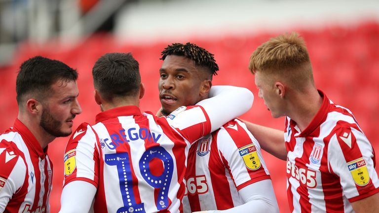 Stoke City's Tyrese Campbell celebrates scoring his side's first goal of the game