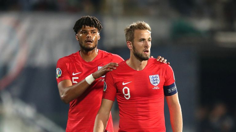 Tyrone Mings (L) earns his second England cap, while Harry Kane starts