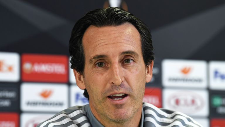 Unai Emery during a Europa League press conference at London Colney on the eve of Arsenal's match against Standard Liege