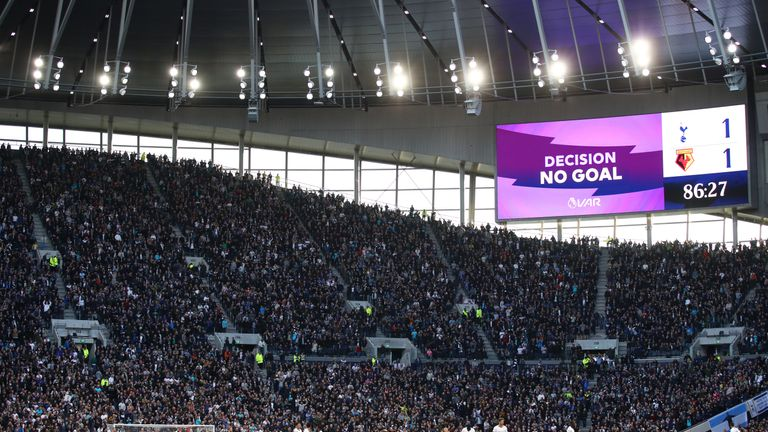The screen shows incorrect information following a VAR check which was given as a goal