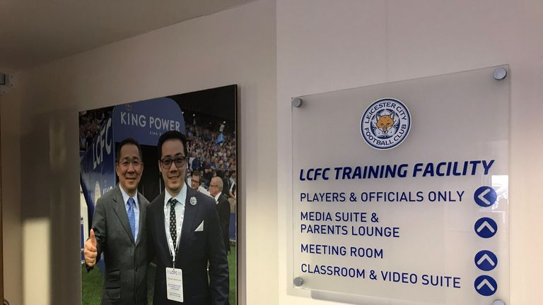 Vichai Srivaddhanaprabha's image is prominent at Leicester's Belvoir Drive training centre