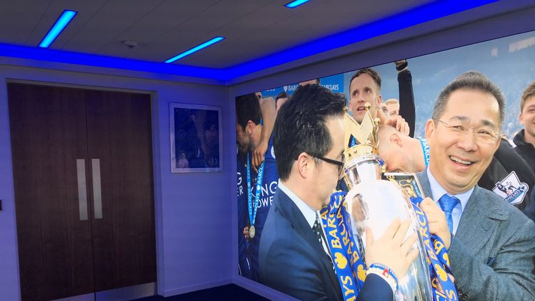 Vichai Srivaddhanaprabha's image is also prominent in the halls of the King Power Stadium