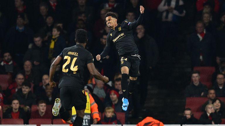 Marcus Edwards celebrates putting Vitoria ahead against Arsenal