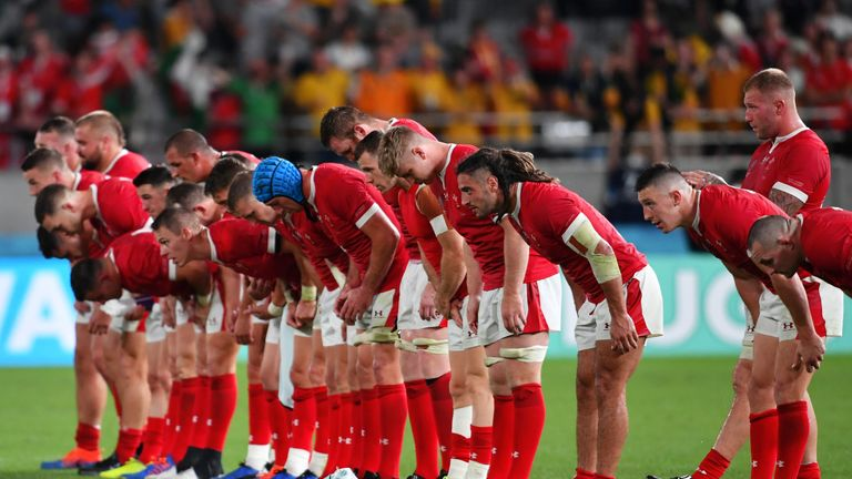 Wales' players bow after their World Cup quarter-final win over Australia in Japan