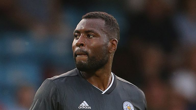 Wes Morgan of Leicester City looks on during the Pre-Season Friendly match between Scunthorpe United and Leicester City at Glanford Park on July 16, 2019 in Scunthorpe, England.