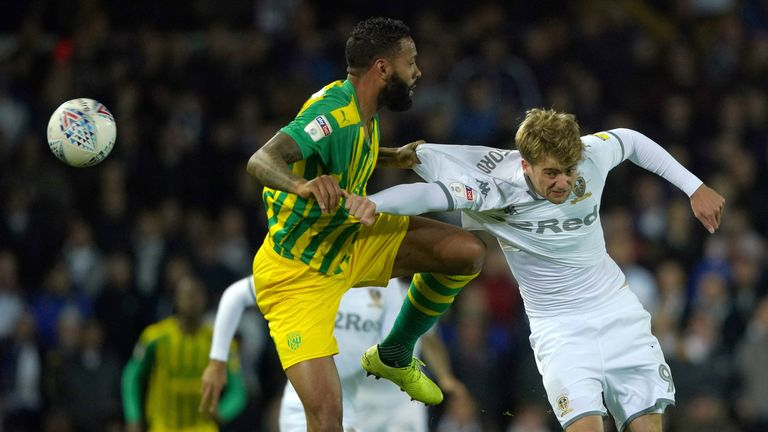 "West Bromwich Albion's Kyle Bartley and Leeds United's Patrick Bamford battle for the ball during the Sky Bet Championship match at Elland Road, Leeds. PA Photo. Picture date: Tuesday October 1, 2019. See PA story SOCCER Leeds. Photo credit should read: Ian Hodgson/PA Wire. RESTRICTIONS: EDITORIAL USE ONLY No use with unauthorised audio, video, data, fixture lists, club/league logos or ""live"" services."