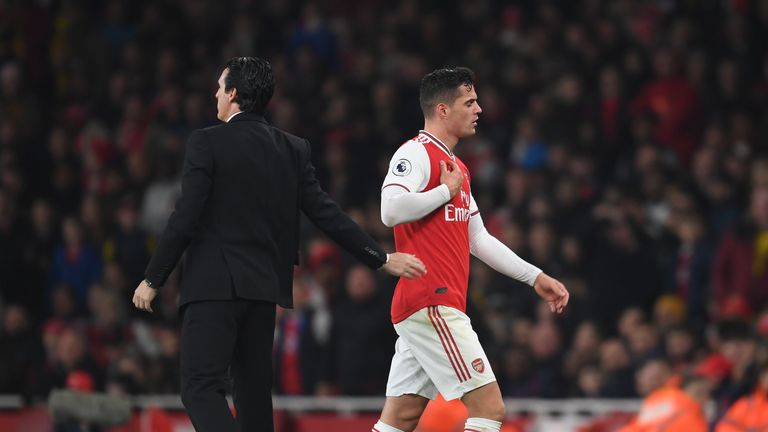 Xhaka is due in training on Tuesday ahead of facing Liverpool