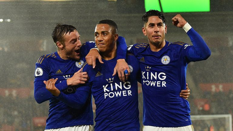 Youri Tielemens celebrates putting Leicester 2-0 up against Southampton