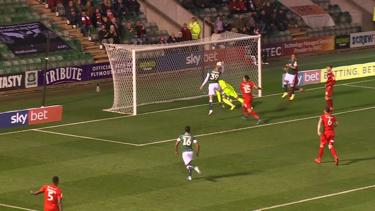 Zak Rudden with a hand of god assist for Plymouth's opening goal against Leyton Orient.