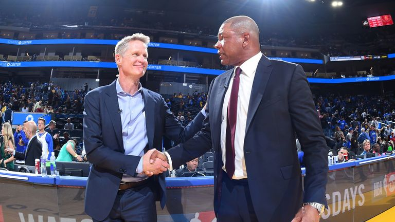 Steve Kerr pictured at the conclusion of Golden State's season-opening loss to the LA Clippers