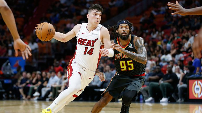 Tyler Herro in preseason action for the Miami Heat