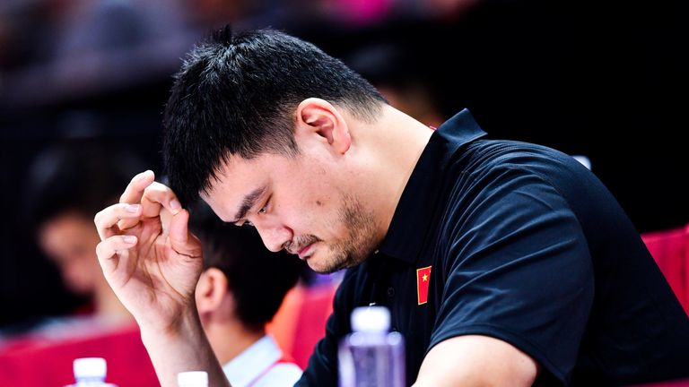 Yao Ming pictured watching China at the FIBA World Cup
