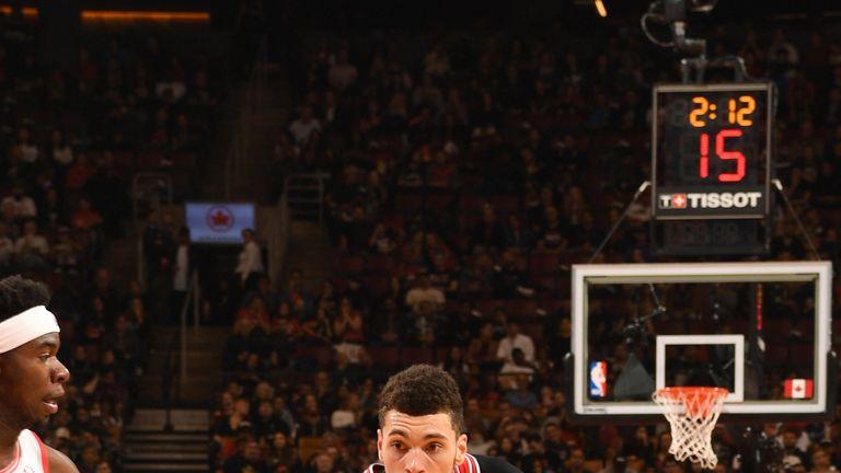 Zach Lavine drives at the Raptors' defense