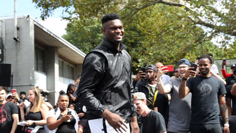 Zion Williamson pictured at a Jordan brand event in New York City