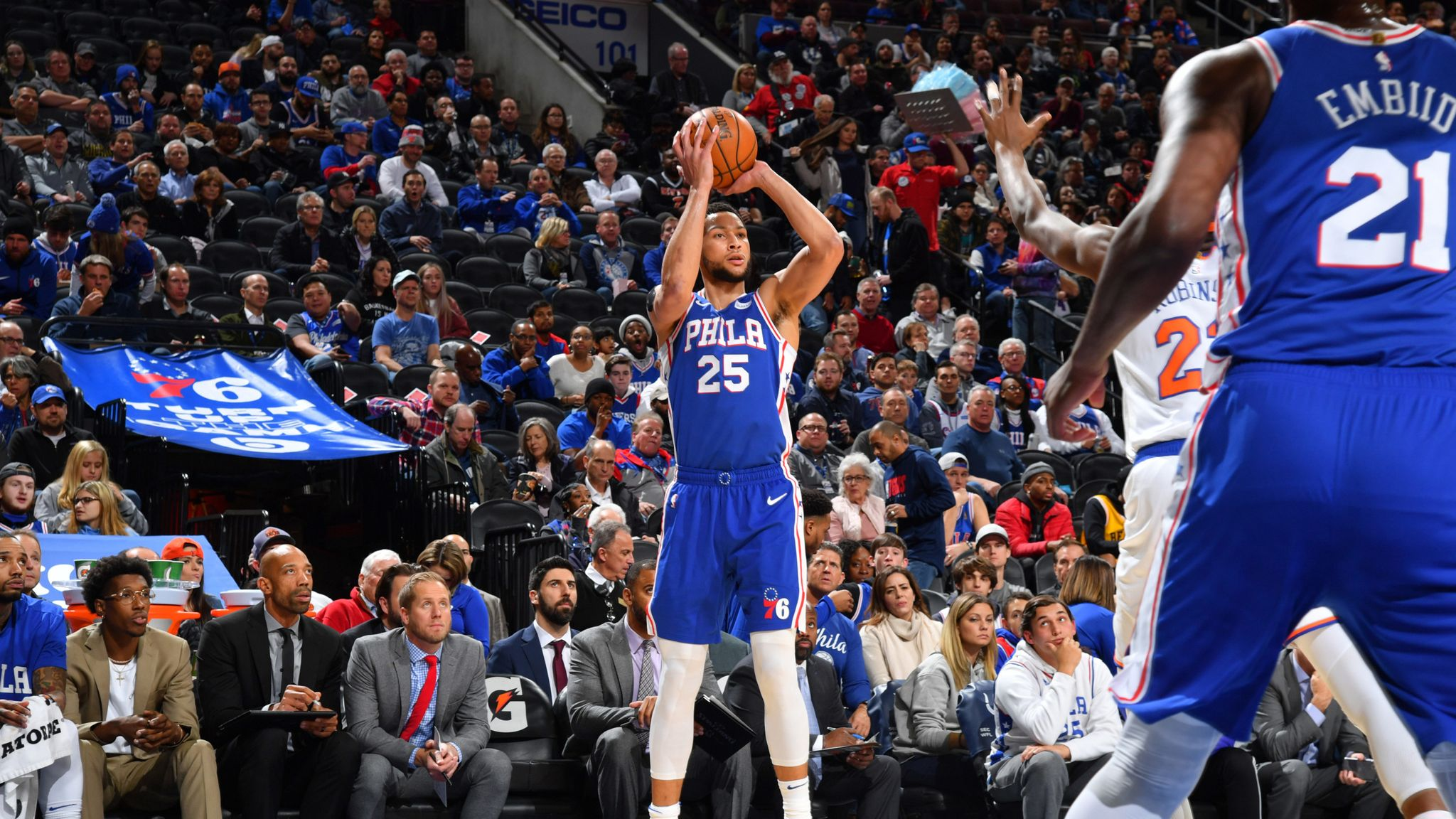 Ben Simmons hits first NBA three-pointer as Sixers beat Knicks