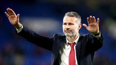 Wales' manager Ryan Giggs acknowledges the fans after they qualified for Euro 2020 with a 2-0 win over Hungary