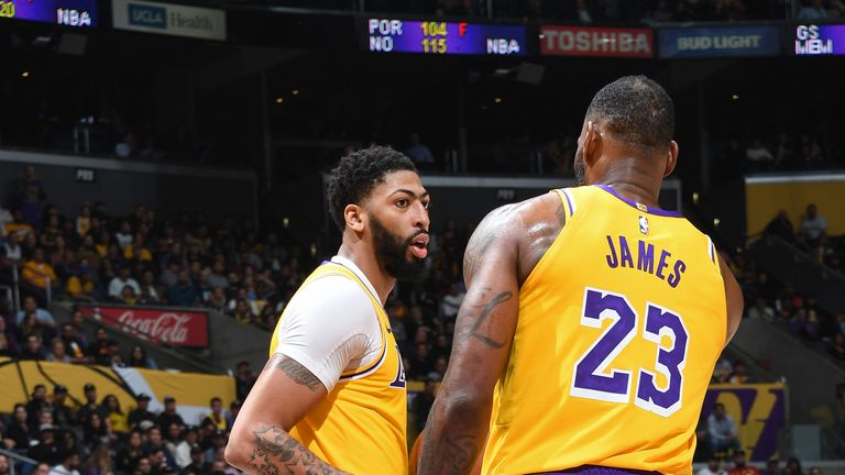 Anthony Davis and LeBron James in action for the Los Angeles Lakers