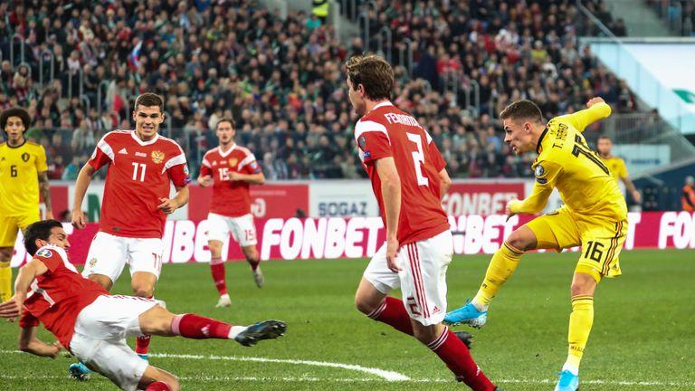 Thorgan Hazard scores for Belgium.