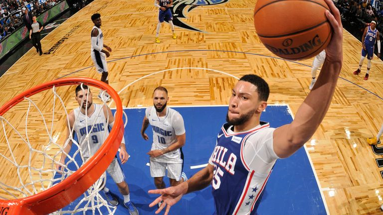 Ben Simmons soars for a dunk against the Orlando Magic