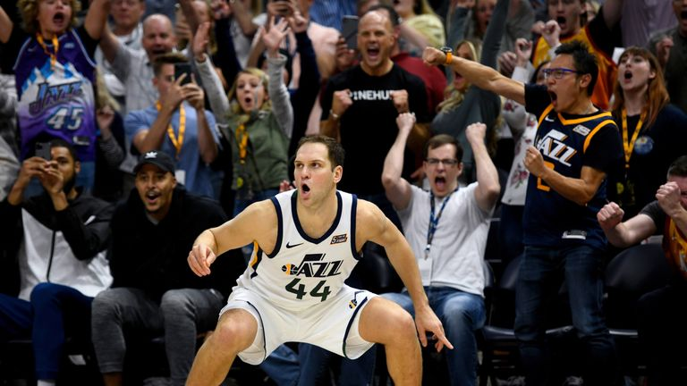 Bojan Bogdanovic watches his game-winning three-pointer find the net as the Jazz toppled the Bucks