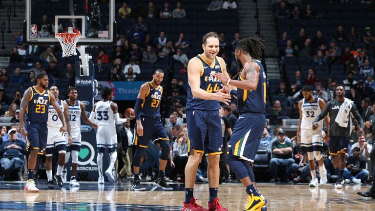 Bojan Bogdanovic celebrates a three-pointer with team-mate Mike Conley