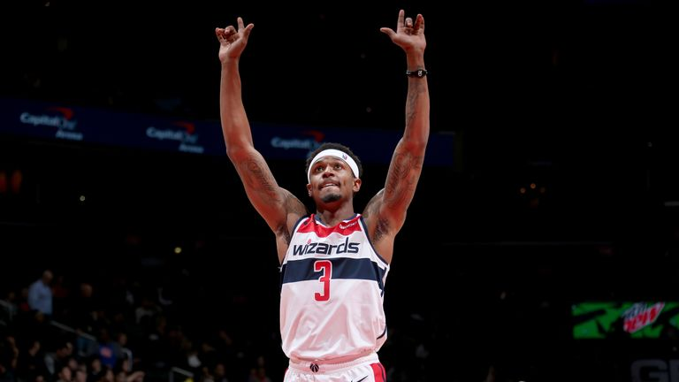 Bradley Beal celebrates a basket during the Washington Wizards' win over the Detroit Pistons