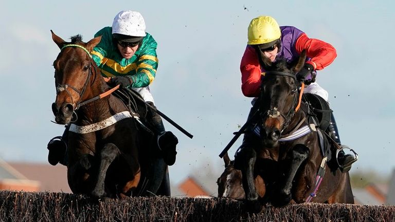 Champ (left) wins on fencing debut at Newbury