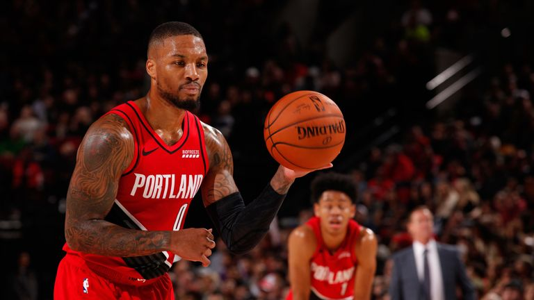 Damian Lillard prepared to take a free throw en route to 60 points against the Nets