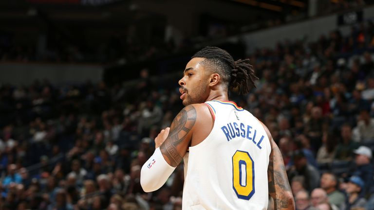 D'Angelo Russell in action during Golden State's overtime loss to Minnesota