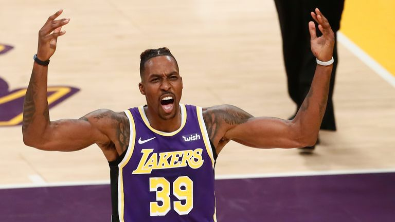 Dwight Howard in action for the Lakers at Staples Center