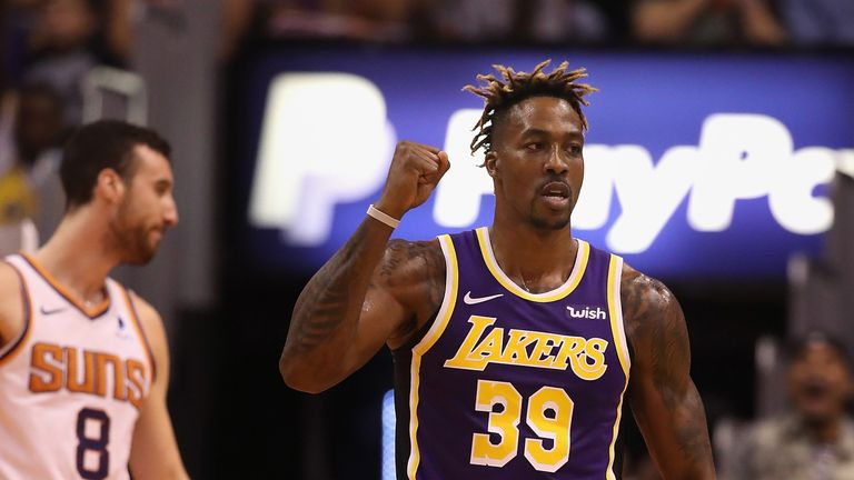 Dwight Howard celebrates a basket during the Los Angeles Lakers' victory over the Phoenix Suns