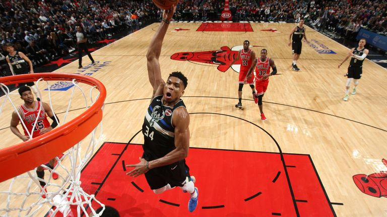 Giannis Antetokounmpo soars for a dunk during the Bucks' win over the Bulls