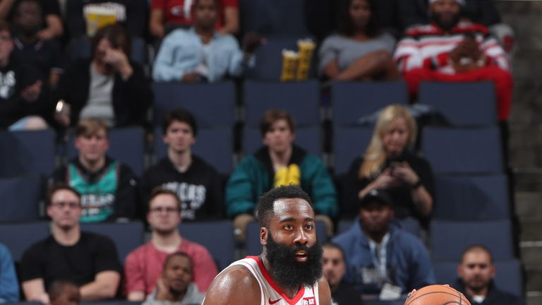 James Harden advances upcourt against the Memphis Grizzlies