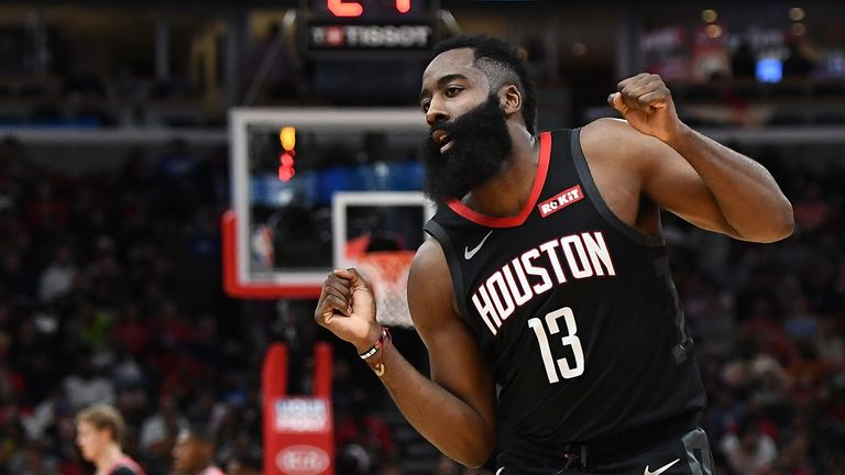 James Harden celebrates a three-point basket in Houston's win over Chicago