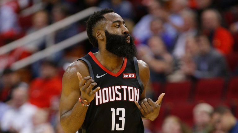 James Harden celebrates a three-pointer during the Rockets' win over the Trail Blazers