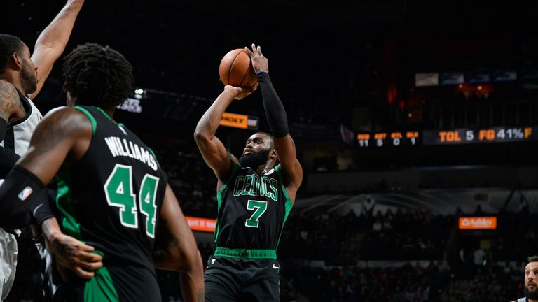 Jaylen Brown raises up for a jump shot against the San Antonio Spurs