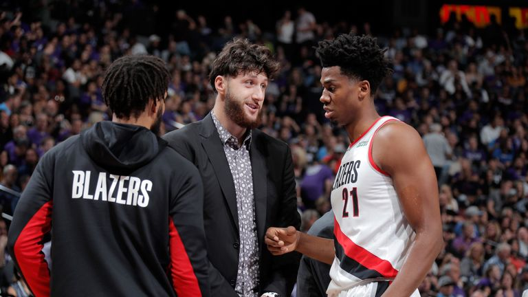 Jusuf Nurkic offers some advice to Hassan Whiteside