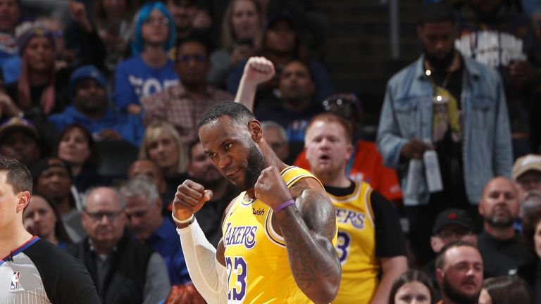 LeBron James celebrates after scoring against the Oklahoma City Thunder