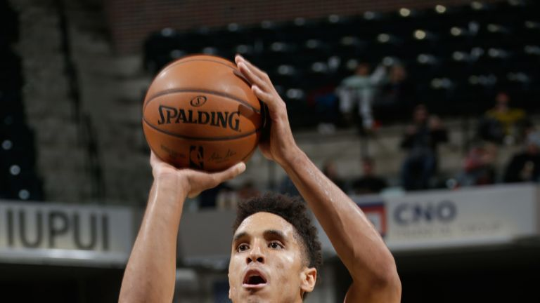 Malcolm Brogdon shoots a free throw for Indiana