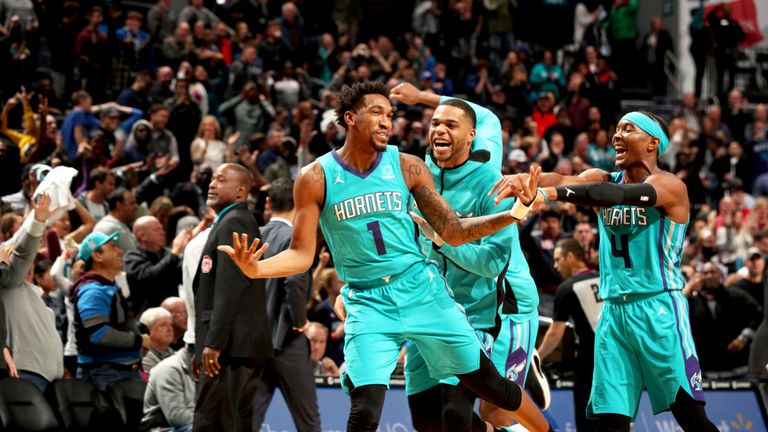 Malik Monk celebrates after draining a game-winning three-pointer against the Pistons