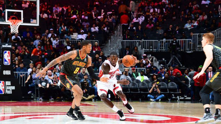 Kendrick Nunn drives against the Atlanta Hawks