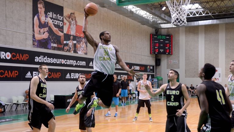 Ovie Soko soars for a dunk during Adidas Eurocamp