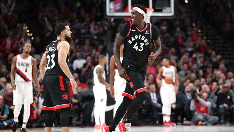 Pascal Siakam smiles after draining a shot against the Portland Trail Blazers