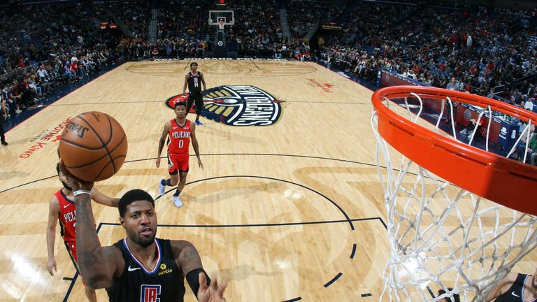 Paul George scores en route to 33 points in his debut for the LA Clippers